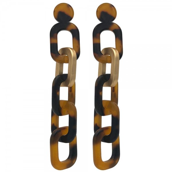 """Chain Link Acetate Drop Earrings.   - Approximately 3"""" Long"""