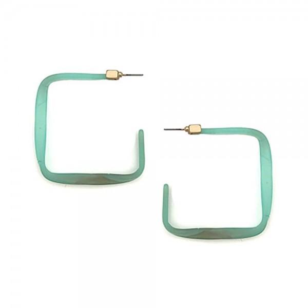 "Square Shaped Resin Hoop Earrings.   - Approximately 2"" Long"