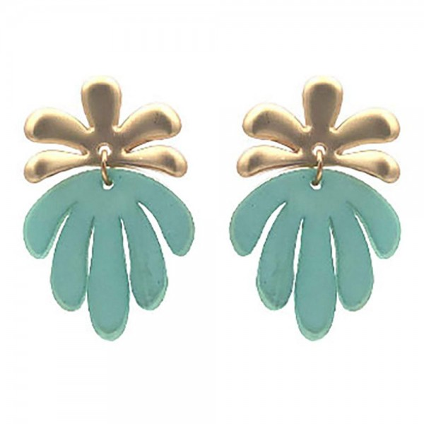 "Resin Palm Tree Drop Earrings.   - Approximately 1.5"" Long"