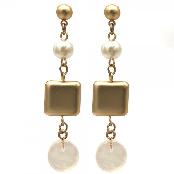 """Gold Drop Earrings Featuring Faux Pearl Details and Acetate Accents.   - Approximately 2.5"""" Long"""