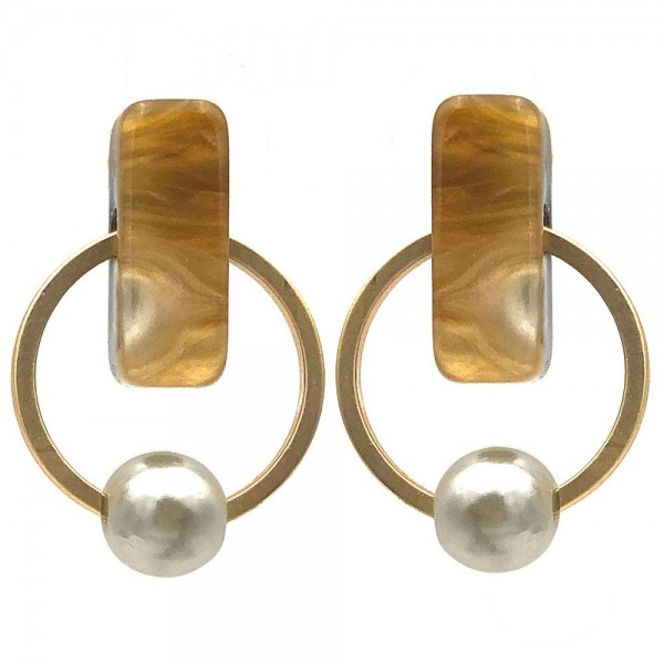 """Short Earrings Featuring Resin Accents and Faux Pearl Details.   - Approximately 1"""" Long"""