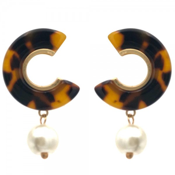 """Resin Hoop Earrings Featuring Faux Pearl Accents.   - Approximately 1"""" Long"""
