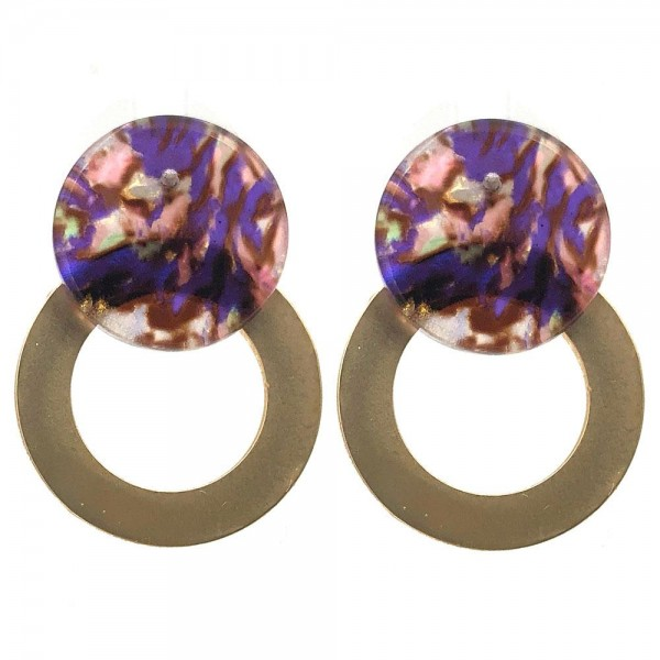 """Circular Metal Earrings Featuring Acetate Accents.   - Approximately 1"""" Long"""