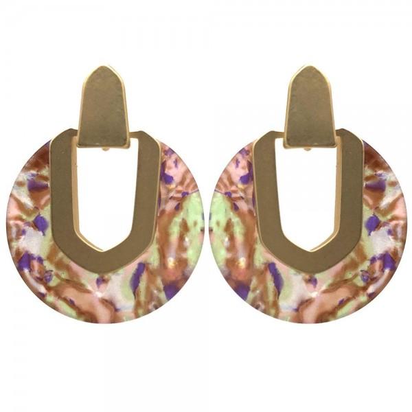 """Circular Resin Drop Earrings.   - Approximately 1.5"""" Long"""