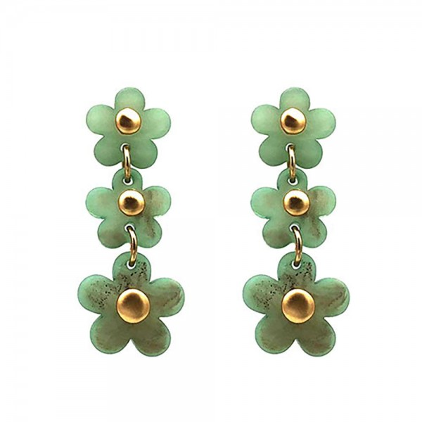 """Floral Acetate Drop Earrings.   - Approximately 2"""" Long"""