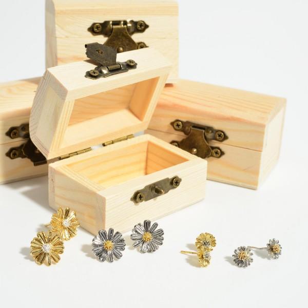 Two-Tone Flower Stud Earrings.   - Approximately 7mm in Diameter
