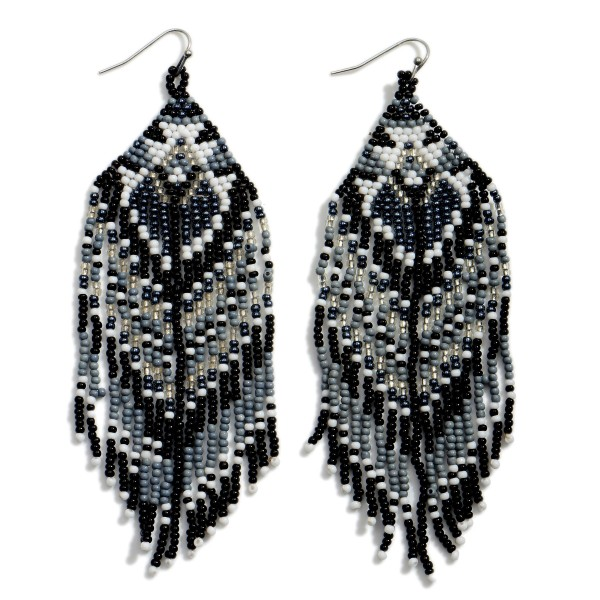 """Long Beaded Drop Earrings Featuring Tassel Accents.  - Approximately 4"""" in Length"""
