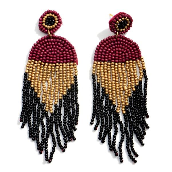 "Long Multicolor Beaded Earrings.  - Approximately 3.5"" in Length"