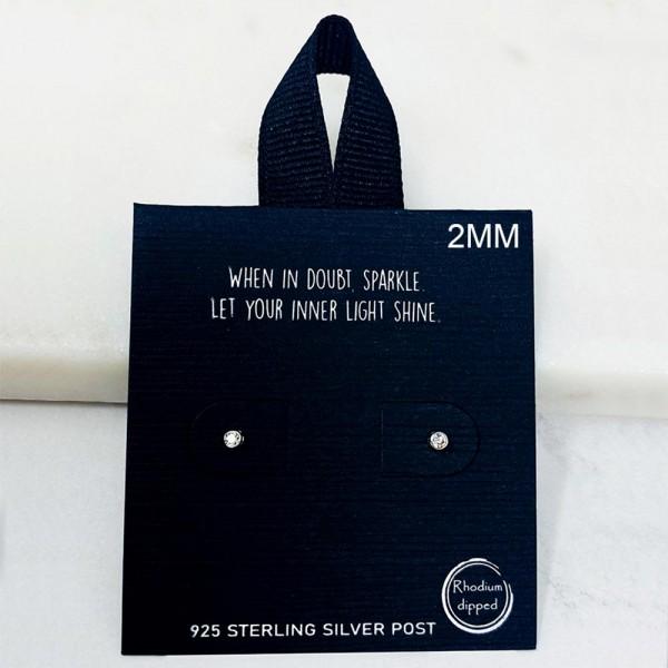 Dainty CZ Stud Earrings.   - Approximately 2mm in Diameter