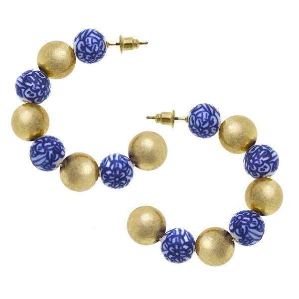 """Gold Hoop Earrings Featuring Beaded Accents.  - Approximately 1.75"""" in Diameter"""
