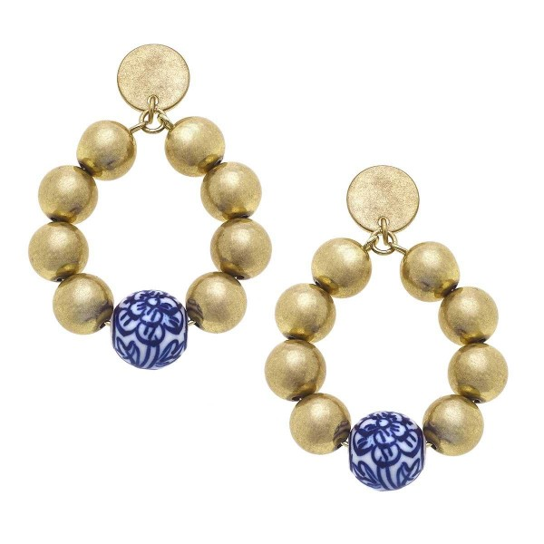 """Beaded Teardrop Earrings Featuring Mediterranean Beaded Accents.  - Approximately 2"""" in Length"""