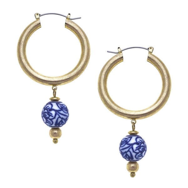 """Gold Drop Earrings Featuring Pearl and Mediterranean Accents.  - Approximately 2.25"""" in Length"""