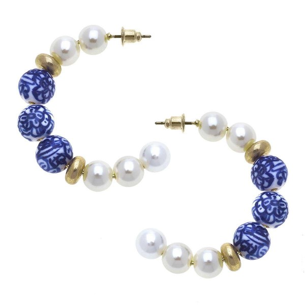 """Pearl Hoop Earrings Featuring Beaded Accents.  - Approximately 1.75"""" in Diameter"""
