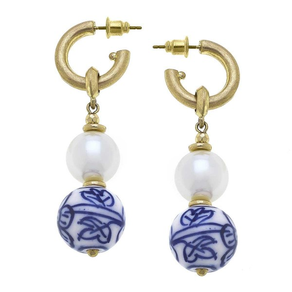 """Gold Huggie Hoop Earrings Featuring a Pearl and Beaded Accents.  - Approximately 2"""" in Length"""