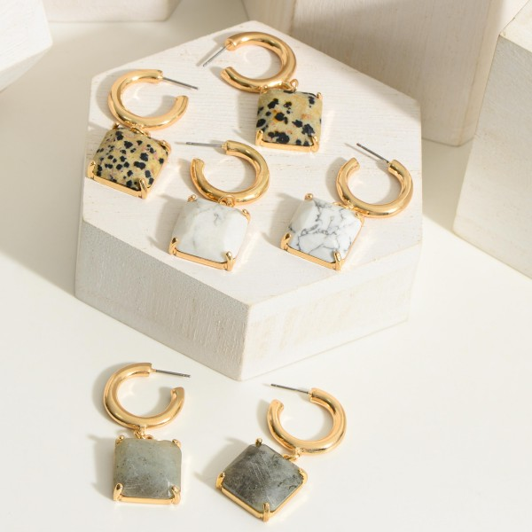 """Gold Huggie Hoop Earrings Featuring a Natural Stone Pendant.  - Approximately 1.75"""" in Length"""