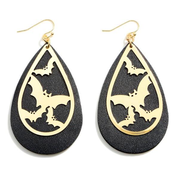 "Halloween Leather Teardrop Earrings Featuring Bat Details.  - Approximately 3.25"" in Length"