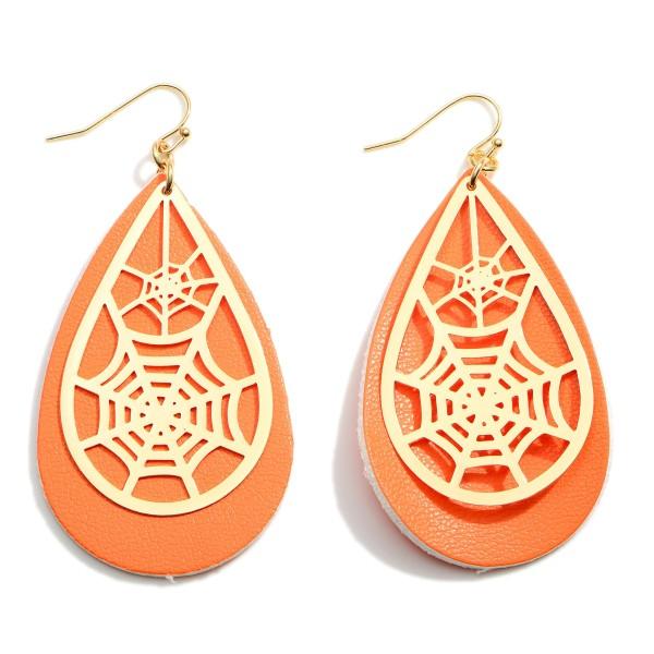 Wholesale halloween Leather Teardrop Earrings Spider Web Details