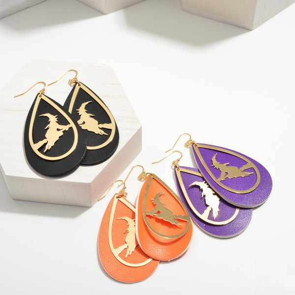 """Halloween Leather Teardrop Earrings Featuring Witch on Broom Details.  - Approximately 3.25"""" in Length"""