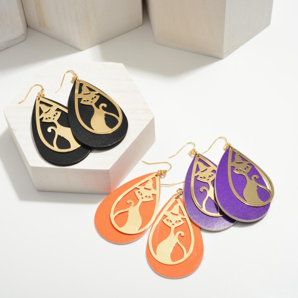 """Halloween Leather Teardrop Earrings Featuring Black Cat Details.  - Approximately 3.25"""" in Length"""