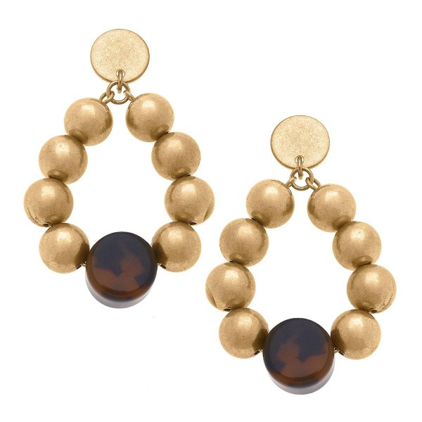"""Beaded Teardrop Earrings Featuring Tortoise Shell Accents.  - Approximately 2"""" in Length"""