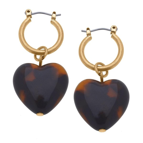 """Gold Huggie Hoop Earrings Featuring a Tortoise Heart Pendant.  - Approximately 1.5"""" in Length"""