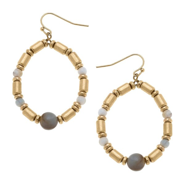 """Gold Beaded Drop Earrings Featuring Natural Stone Accents.  - Approximately 1.75"""" in Length"""