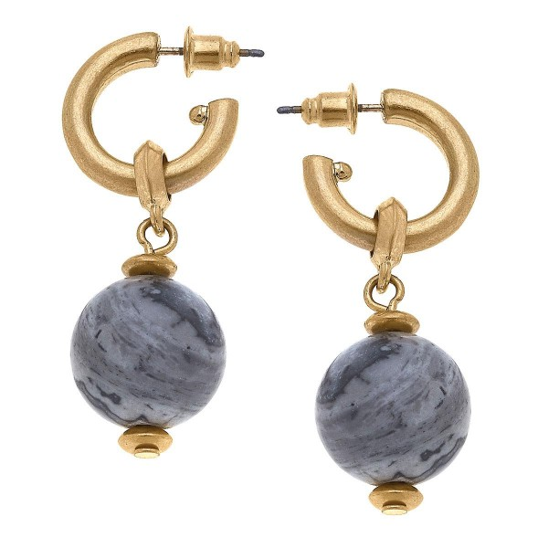 """Gold Huggie Hoop Earrings Featuring a Beaded Accents.  - Approximately 1.5"""" in Length"""