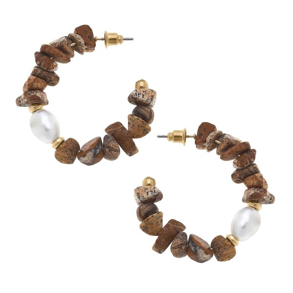 """Natural Stone Inspired Hoop Earrings Featuring Pearl Accents.  - Approximately 1.75"""" in Diameter"""