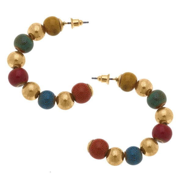 """Beaded Gold Tone Hoop Earring  -Approximately 1.5"""" in length"""