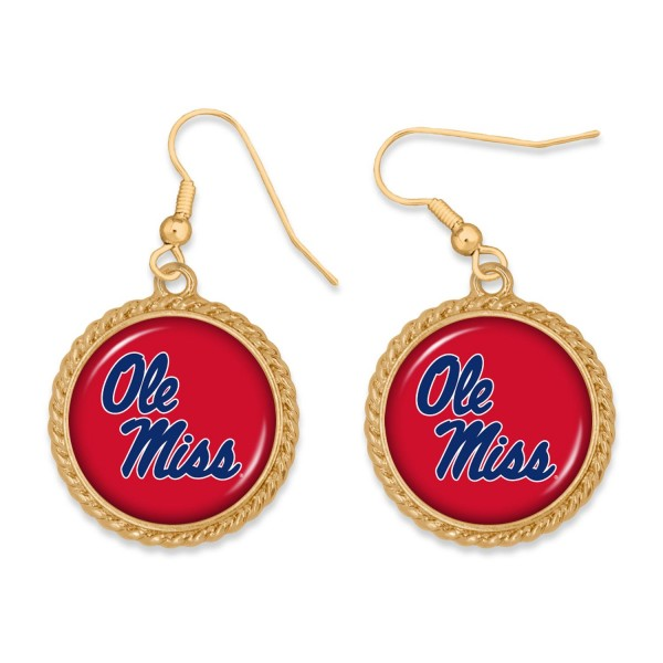 """Ole Miss Gold Drop Earrings.  - Charm Approximately 1"""" in Diameter - Approximately 2"""" in Length"""