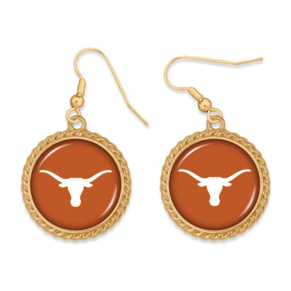 """Texas Gold Drop Earrings.  - Charm Approximately 1"""" in Diameter - Approximately 2"""" in Length"""