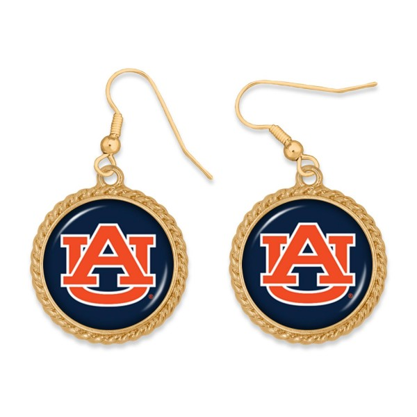 "Auburn Gold Drop Earrings.  - Charm Approximately 1"" in Diameter - Approximately 2"" in Length"