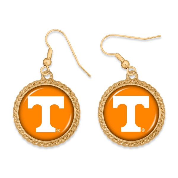 """Tennessee Gold Drop Earrings.  - Charm Approximately 1"""" in Diameter - Approximately 2"""" in Length"""