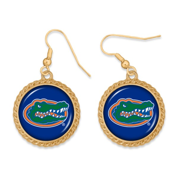 """Florida Gold Drop Earrings.  - Charm Approximately 1"""" in Diameter - Approximately 2"""" in Length"""