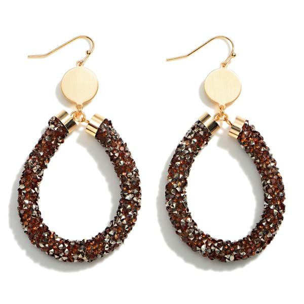 "Rhinestone Encrusted Teardrop Gold Tone Earring  - Approximately 2.5"" Length"