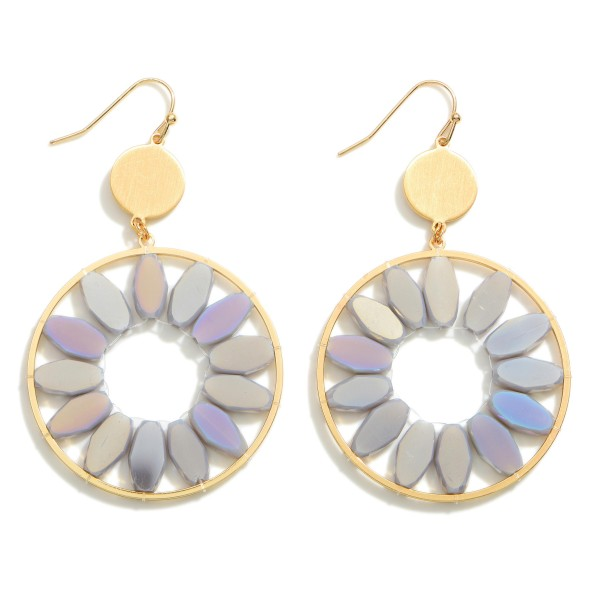 """Gold Circular Drop Earrings Featuring Beaded Accents.  - Approximately 2.75"""" in Length"""