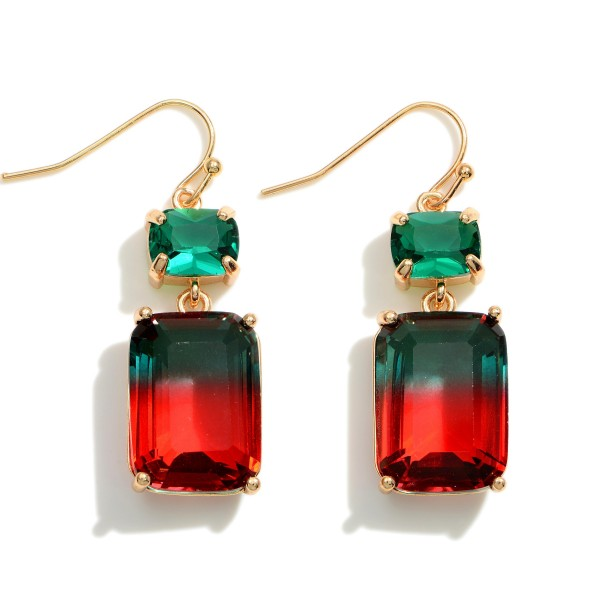 """Crystal Ombre Drop Earrings.   - Approximately 1.75"""" in Length"""
