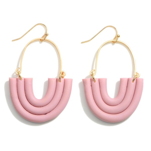 """Polymer Clay Rainbow Drop Earrings Featuring Gold Accents.   - Approximately 2.25"""" in Length"""