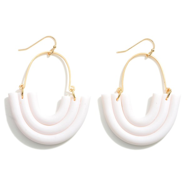Wholesale polymer Clay Rainbow Drop Earrings Gold Accents