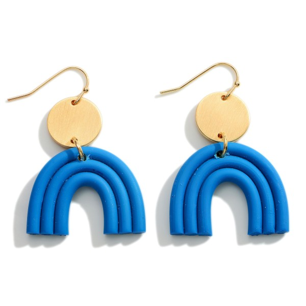 """Clay Polymer Rainbow Drop Earrings Featuring Gold Accents.  - Approximately 2"""" in Length"""
