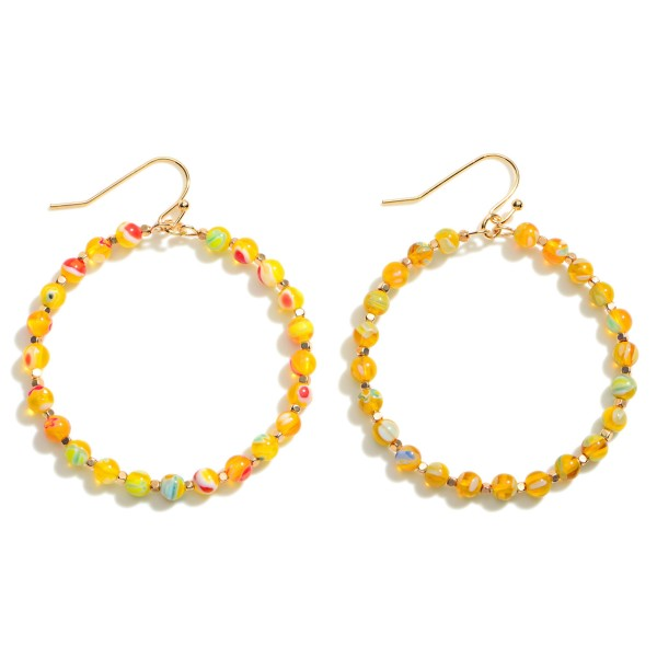 """Glass Mosaic Beaded Circle Earrings  - Approximately 2.5"""" Length"""