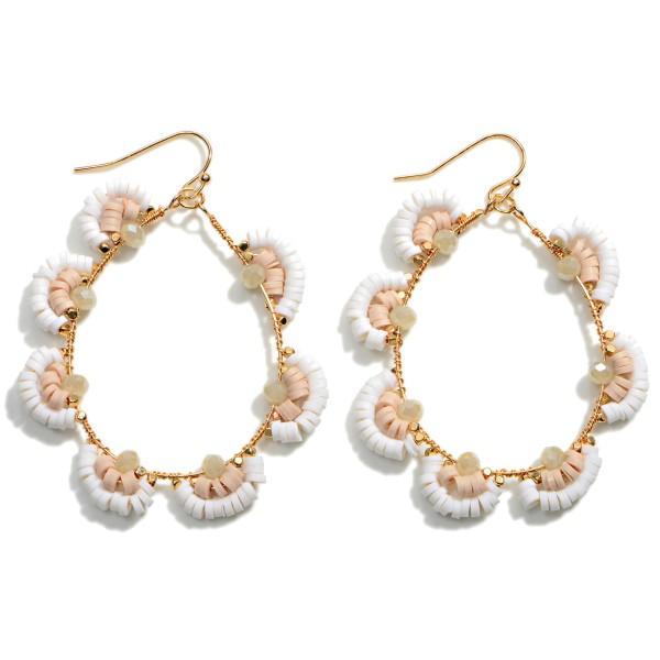 """Heishi Bead Flower Teardrop Earrings  - Approximately 2.5"""" L"""