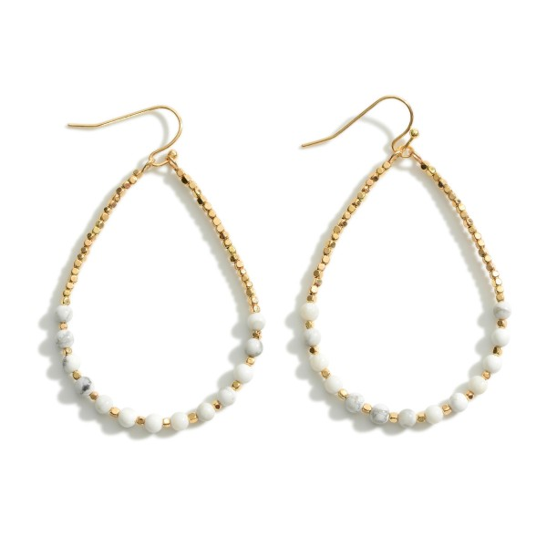 """Beaded Teardrop Earrings Featuring Gold Accents.   - Approximately 3"""" in Length"""
