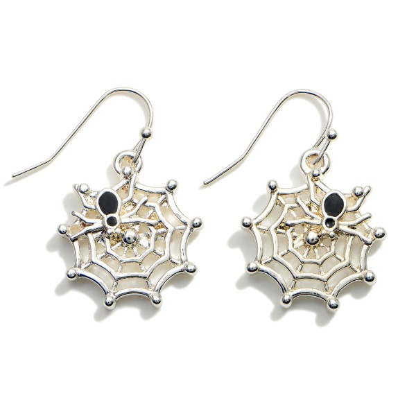 """Silver Drop Cobweb Earrings Featuring Spider Accents.  - Approximately 1.25"""" in Length"""
