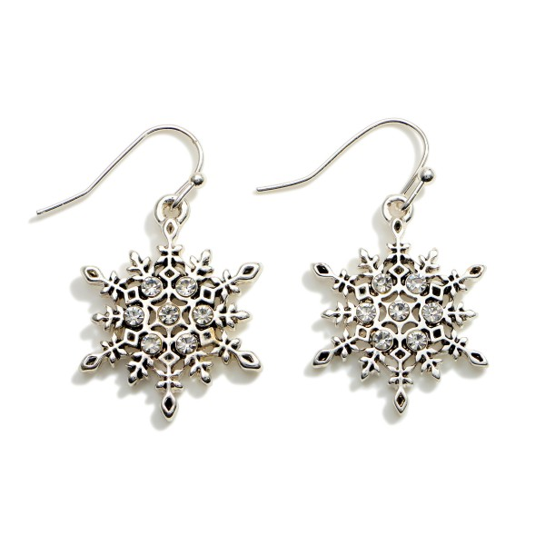 """Silver Drop Snowflake Earrings Featuring CZ Accents.  - Approximately 1.5"""" in Length"""