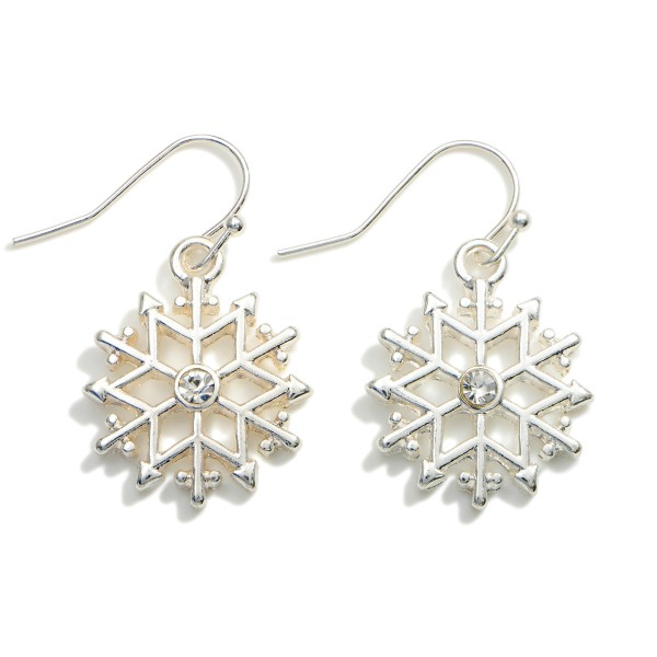"""Snowflake Drop Earrings Featuring CZ Accents.  - Approximately 1.25"""" in Length"""
