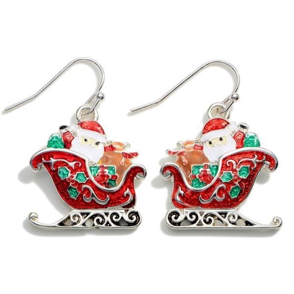 "Santa in his Sled Drop Earrings.   - Approximately 1.25"" in Length"