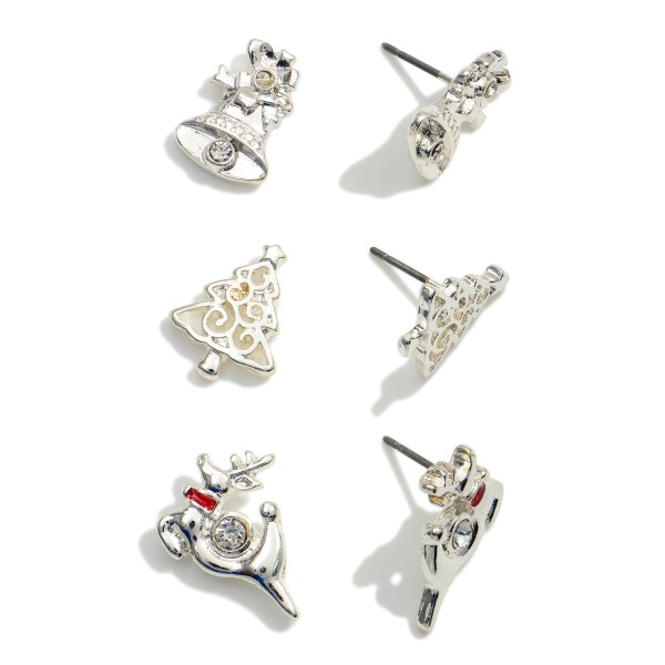 """Set of Three Christmas Themed Stud Earrings Featuring CZ Accents.  - Set includes: Silver Bell, Christmas Tree, and Reindeer Studs - Studs Approximately .75"""" in Diameter"""