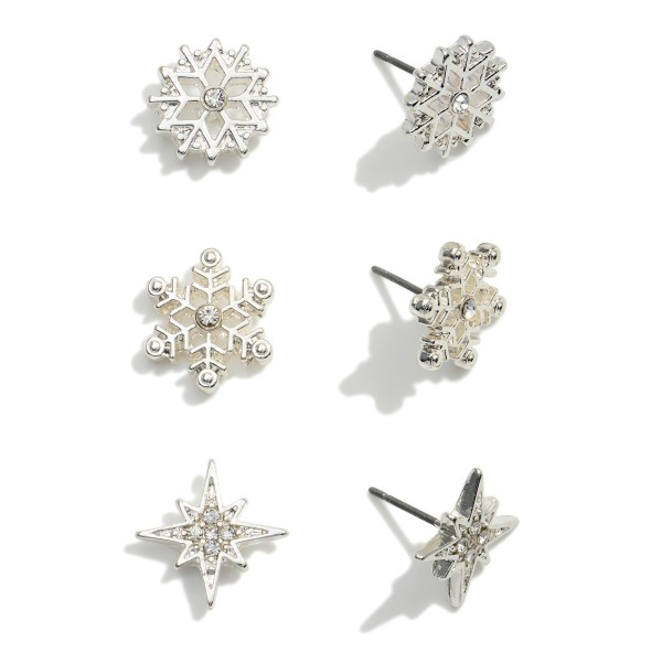 """Set of Three Snowflake Stud Earrings Featuring CZ Accents.  - Studs Approximately .75"""" in Diameter"""