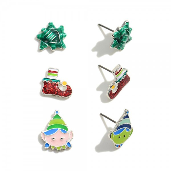 """Christmas stud earring set featuring three pairs.   - Approximately .5"""" in size."""